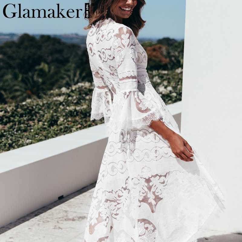 Glamaker сексуальное асимметричное платье с кружевной оборкой женское рукав-раструб белый пляжное платье элегантное женское свободное вечерние миди платье Клубное летнее
