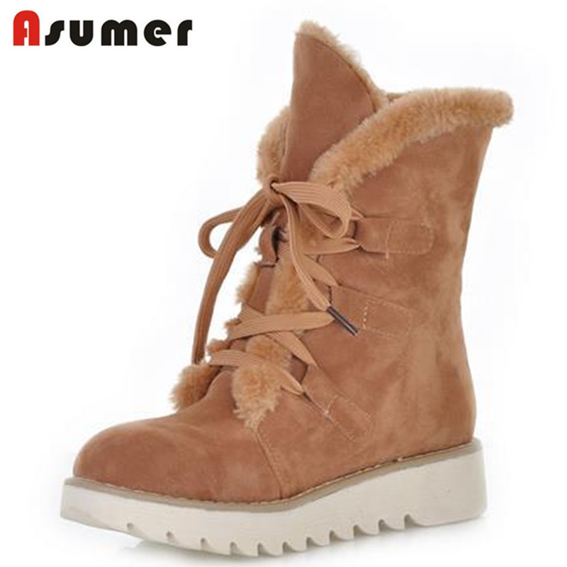 Assumer fashion high quality warm winter boots platform suede women boots thick fur flat shoes snow boots European Size 34-43 цена