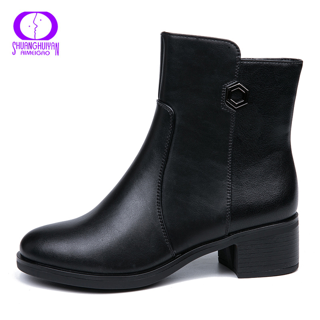 AIMEIGAO 2018 New Arrivals Soft Leather Ankle Boots Women Comfortable Mid Heels Boots For Ladies Spring Autumn Women Shoes 2