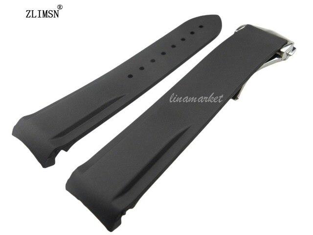 20mm (Buckle 18mm) NOVO TOP GRADE Preto Mergulho Waterproof Silicone Rubber Watchband Bandas Straps com Prata fivela