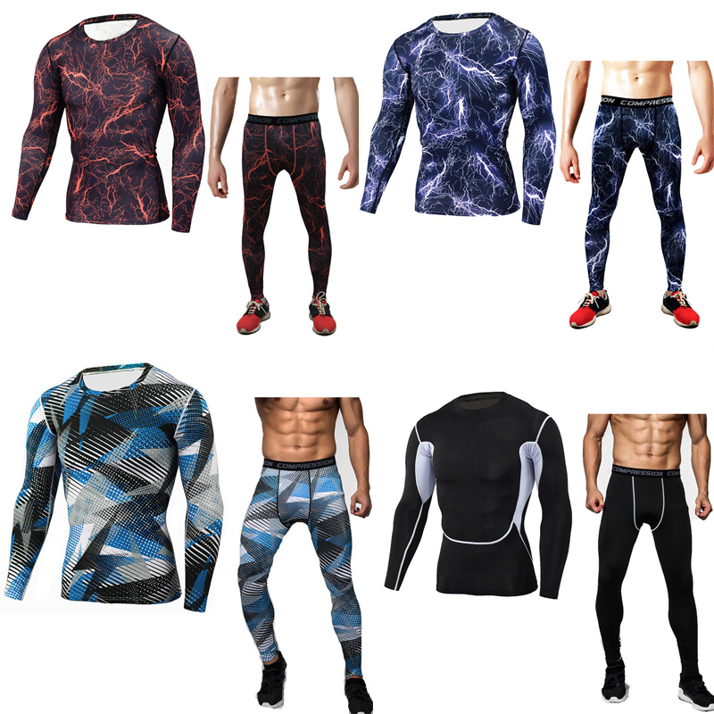 2 Piece Tracksuit Men Suit Camouflage Tracksuit Men Fitness Training, Thermal Underwear, Quick-drying Tights Rashguard Men