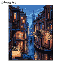Handmade Beautiful Venice Night Landscape Painting DIY Pictures On Canvas Diy Digital Oil Painting By Numbers