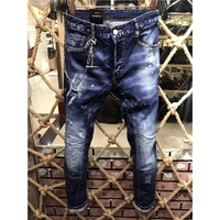 skinny Slim fit 2018 Winter Casual Jeans long Men Trouser Distressed Straight Denim Men's shorts Jogger Ripped jean Pockets male