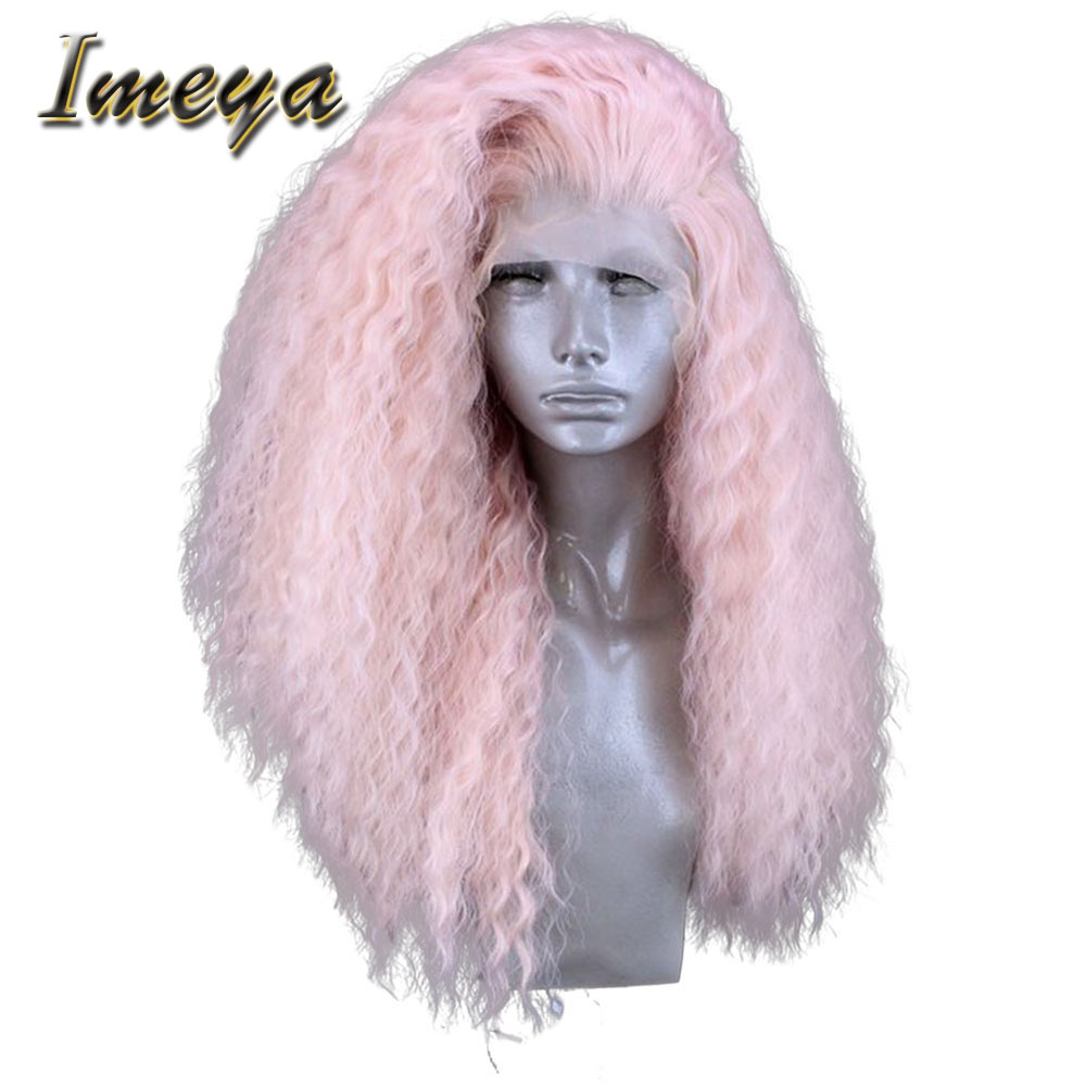 Imeya Pink High Temperature Fiber Long Curly Hair Wigs Synthetic Lace Front Wigs For Women With Free Part