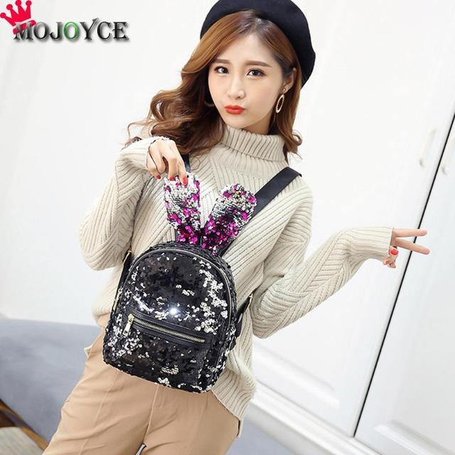 97af2edd12 Bling Sequins Backpack Cute Big Rabbit Ears Double Shoulder Bag Women Mini Backpack  Children Girls Rucksack ...