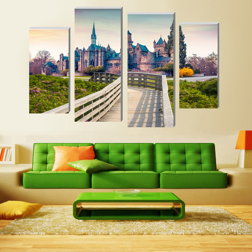 Modular pictures boardwalk castle Modern Home Decoration Living Room or Bedroom Canvas Print Painting poster Wall Decor Painting