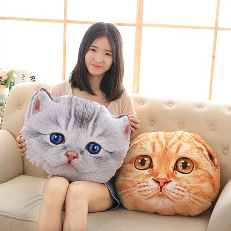 Cat Pillow Car Cushion Creative Stuffed Cute Cat Shape Nap Pillow Seat Cushion Plush Toys E2S