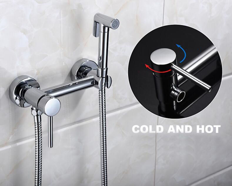 Free shipping Brass Bidet Faucet Shattaf Spray shower Set with bidet toilet Cold Hot Water spray + Shower Hose BD532 free shipping chrome brass hand shower set faucet wall mounted with brass holder and hot cold control shower valve is125