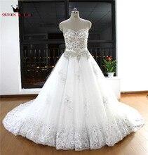 Custom Made vestido de Baile Querida Frisada de Cristal de Diamante Rendas de Luxo Vestidos de Noiva Vintage Real Photo Vestidos De Noiva EW19
