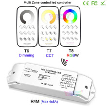 Bincolor Multi Zone control dimming/CCT/RGBW Max 5x4A RF wireless remote with Receiver controller for LED Strip Light,DC12V-24V цены онлайн