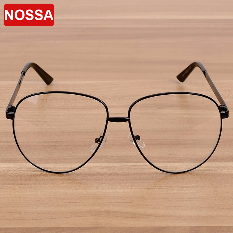 c4dda439bc5 NOSSA Brand Women s Big Frame Eyewear Female Metal Clear Lens Eyeglasses  Men s Luxury Fashion Spectacle Frame