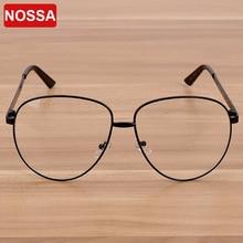 NOSSA Brand Women's Big Frame Eyewear Female Metal Clear Lens Eyeglasses Men's Luxury Fashion Spectacle Frame Myopia Glasses