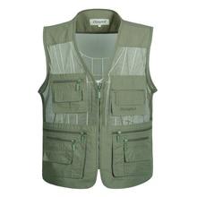 Men Multi-Pocket Classic Waistcoat Male Sleeveless Unloading Solid Coat Work Vest Photographer Tactical Jacket drop shipping