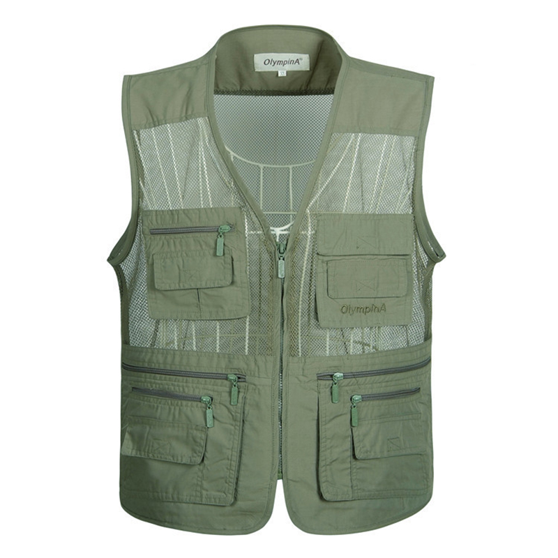 Men's Summer Waistcoat Outdoors Vest With Many Pockets Fishing Vest Photographer Vests Sleeveless Mesh Jacket