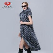 2016 Осень новое прибытие лучший продавец Мода стиль пальто настоящее silver fox меховой жилет для леди долго размер натуральная кожа жиле