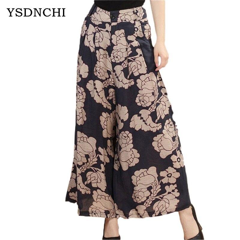 YSDNCHI Summer   Wide     Leg     Pant   Flower Broeken Woman Linen Female Capris Pattern Skirt Trousers Women Loose Culottes Ankle-Length