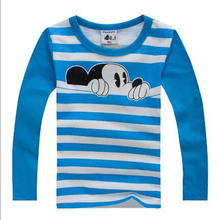 New 2016 children t shirts, cotton long sleeve boys and girls T-shirts, Hot sale pattern, cute round neck pullovers