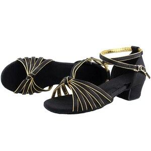Танцевальная обувь для девочек; Атласная обувь для латинских танцев на низком каблуке; Танцевальная обувь для танго, румбы, сальсы, бальных танцев, латино