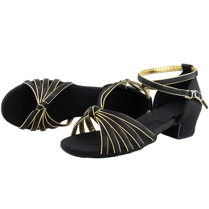 Mädchen Tanz Schuhe Satin Latin Schuhe Niedrigen Ferse Tango Rumba Salsa Ballsaal Latino Dance Schuhe Für Frauen
