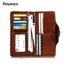Klsyanyo 100% Genuine Leather Wallet Women Long Vintage Cow Leather Casual Purse Brand Design High Quality Wallet Men Clutch Bag
