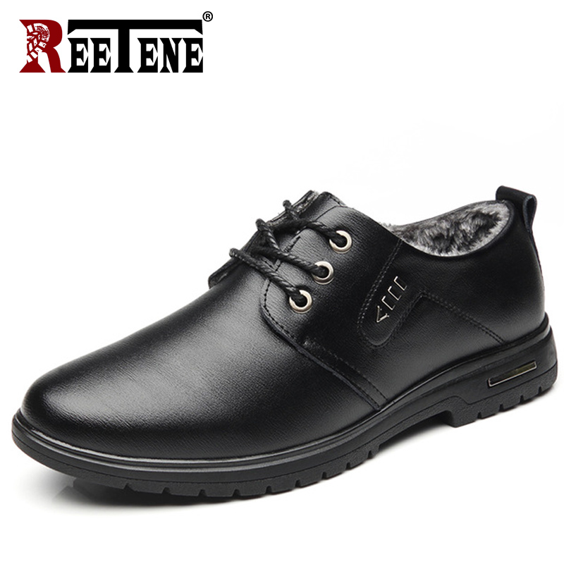 REETENE 2018 New Winter Men'S Casual Shoes Fashion Warm Fur Leather Men'S Shoes Comfortable Lace Up Plush Casual Shoes Men Flats genuine leather men casual shoes wool fur warm winter shoes for men flat lace up casual shoes men s flat with shoes fashion