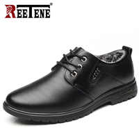 REETENE 2018 New Winter Men'S Casual Shoes Fashion Warm Fur Leather Men'S Shoes Comfortable Lace Up Plush Casual Shoes Men Flats