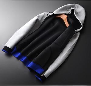 Image 3 - Minglu Grey Hoodies Men Luxury Combined Fabric Hooded Sweatshirts For Men Plus Size 3XL 4XL Spring Slim Fit Sweatshirt Male