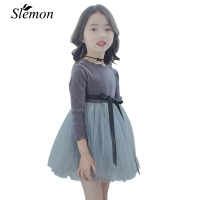 Spring New South Korean Girl Dress Cotton Long Sleeve Skirt Children S Skirt Princess Stitching Yarn