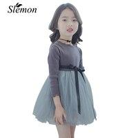 Spring New South Korean Girl Dress Cotton Long Sleeve Skirt Children S Skirt Princess Stitching Yarn