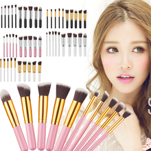 10pcs/Set Pro Eco-friendly Synthetic Hair Anti-fingerprint Cosmetic Makeup Tool Brush Set Eyeshadow Blush Brushes Tools GUB#