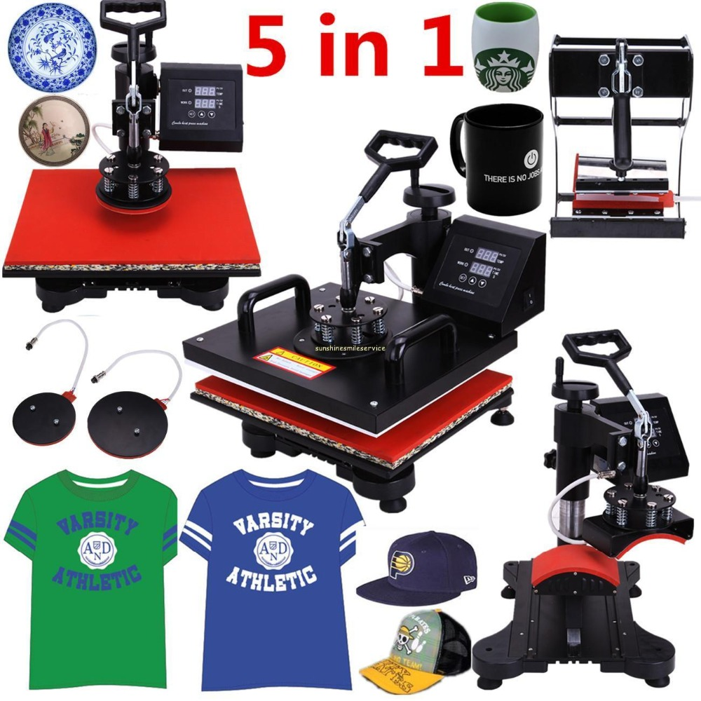 (Ship from EU) 5 in 1 Heat Press Machine Swing Away Heat Sublimation Transfer for T-Shirt Mug Cup Hat Plate