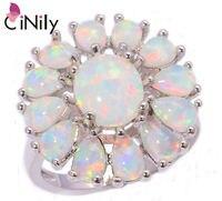 CiNilyสร้างโอปอลไฟสีขาวเงินชุบแฟชั่นงานแต่งงานขายส่งสำหรับผู้หญิงเครื่องประดับแหวนของขวัญ...