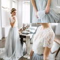 2017 Country Style Bohemian Bridesmaid Dresses Top Lace Short Sleeves Illusion Bodice Tulle Skirt Maid Of Honor