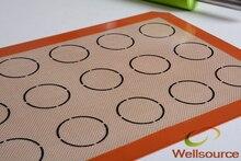 Set von 2 stücke 420*295*0,7mm oder 16,53*11,61 zoll macaron matte teppich 15 kreise kerben silikon glasfaser Macaron Backblech