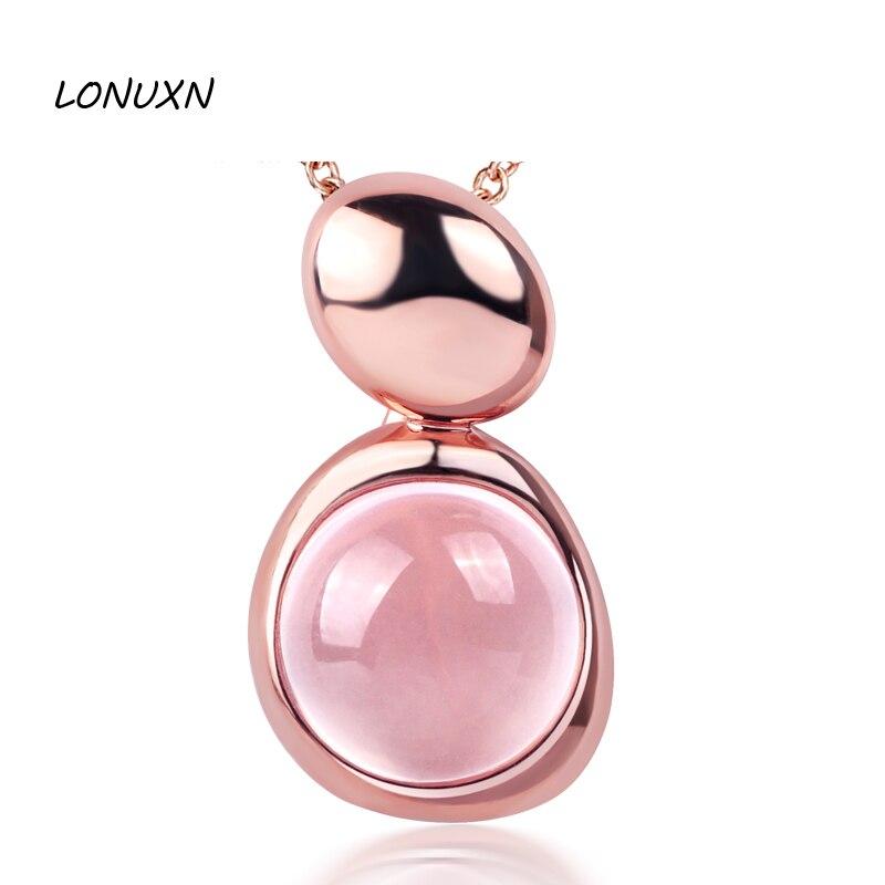 925 argent Sterling rose naturel pierres semi-précieuses collier en or rose cristal femme bijoux filles pendentif amoureux cadeau