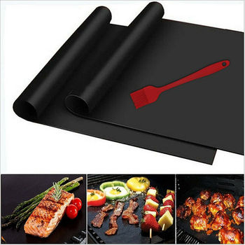 Reusable Grill Bbq Mat Non Stick Mat Cooking Mats Set Oven Liner Pad Tool Camping Hiking Home Outdoor image