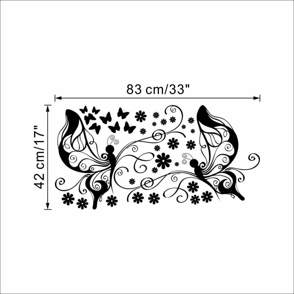 Simmetrico Della Vite Del Fiore E La Farfalla Adesivi Murali Camera