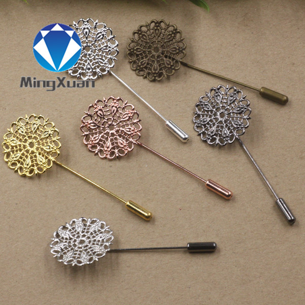 MINGXUAN 5pcs 25mm Hollow Out Copper Flower Brooch Base Setting Lapel Pin Boutonniere Stick Brooch For Women Jewelry Accessories