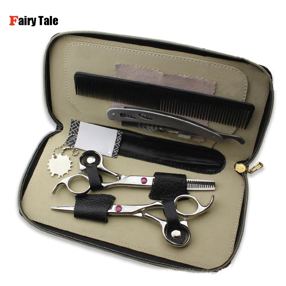 Professional Hair Cutting Thinning Scissors 6 Inch Shears Barber Salon Hairdressing Set with Razor Comb Hairstyle Styling Tools