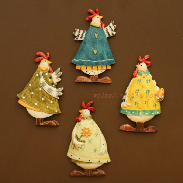Free Shipping Zakka cartoon refrigerator stickers rustic new home resin colored drawing decoration piece set