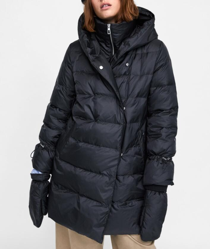 NAVY   DOWN   PUFFER   COAT   high WRAPAROUND COLLAR feather   down   filling long sleeves detachable mittens double-breasted snap button