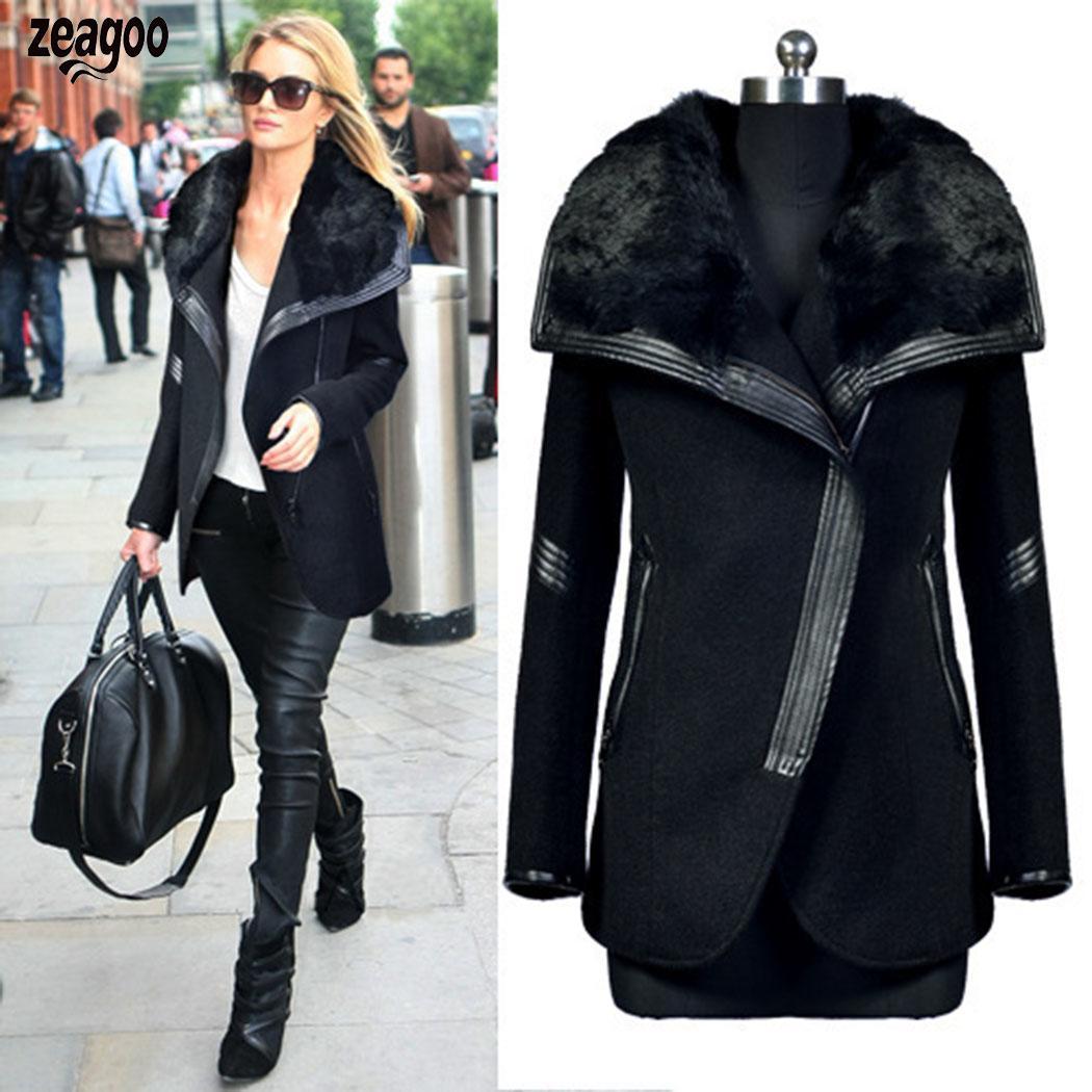 Women Winter Long Sleeve Casual Solid Turn-  down   Collar Black Pocket Slim Zipper   Coat