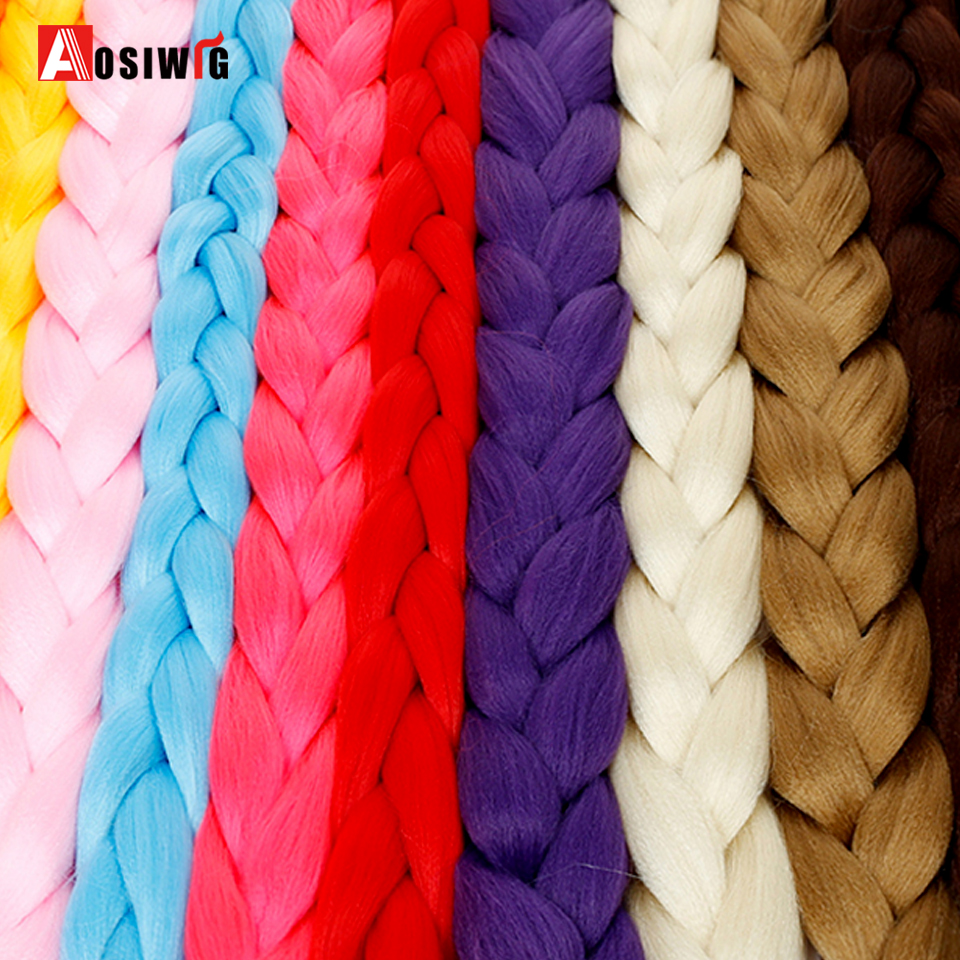 Trenzas Jumbo pelo trenzado sintético 82 pulgadas Africana pelo trenzado estilo ganchillo extensiones de cabello trenza AOSIWIG