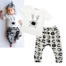 Cute Newborn Baby Boy Girl Cotton Monster Tops T-shirt Pants Outfits Clothes AU