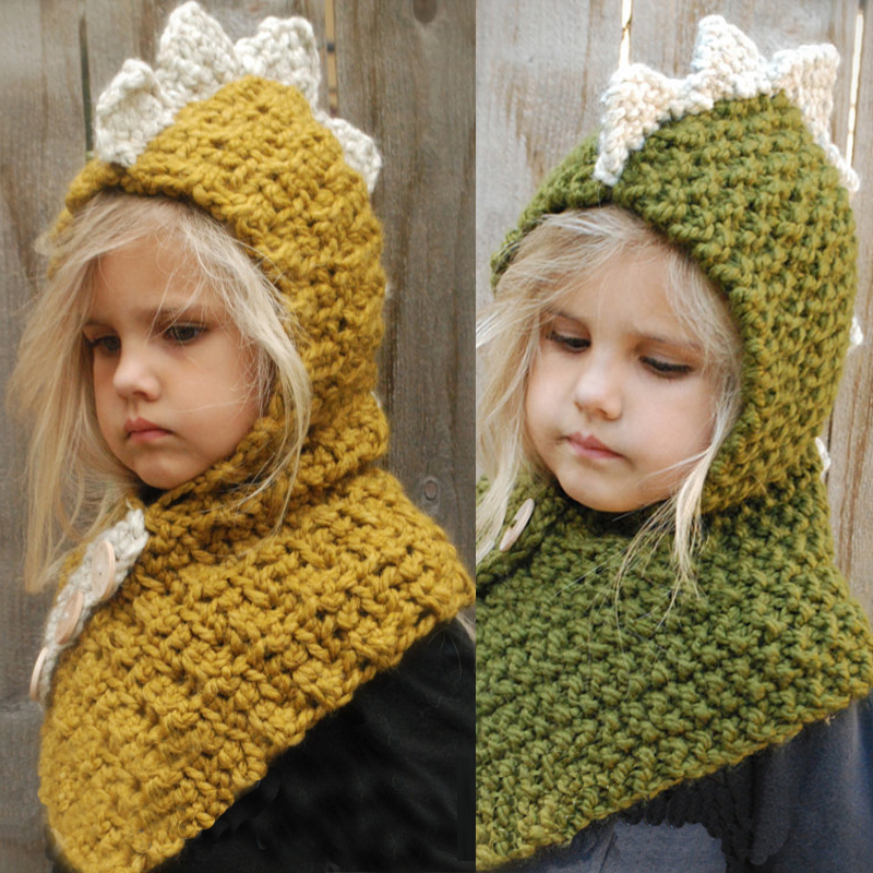 3D Animal Hat Cute Funny Dinosaur Handmade Knitted Caps Winter Boy Girl Hats Children Warm Knitted Hooded Scarf Cap Kid Gifts