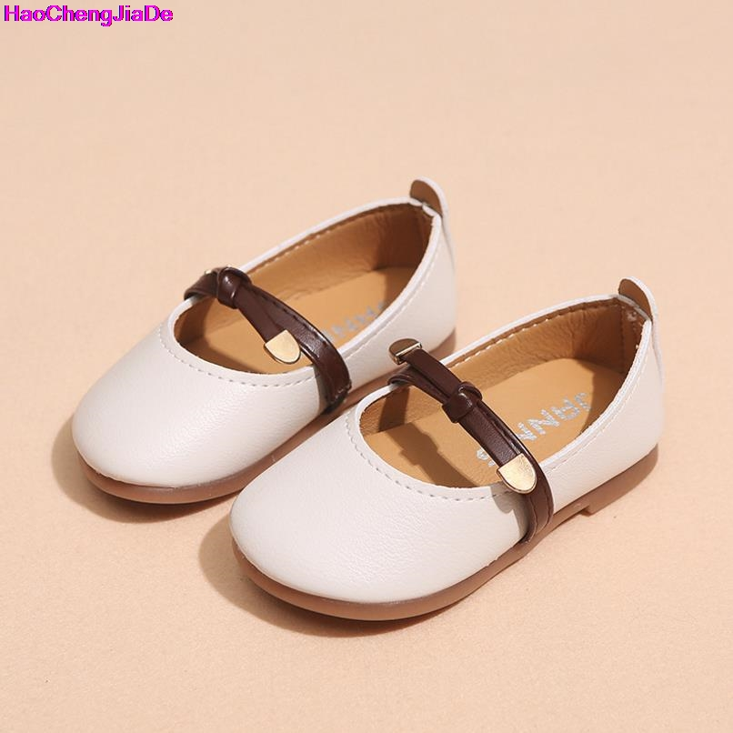 HaoChengJiaDe Pink Girls Leather Shoes Fall New Children Flat Leather Shoes For Girls Wedding Dress Shoes Kids Girl Toddler Shoe