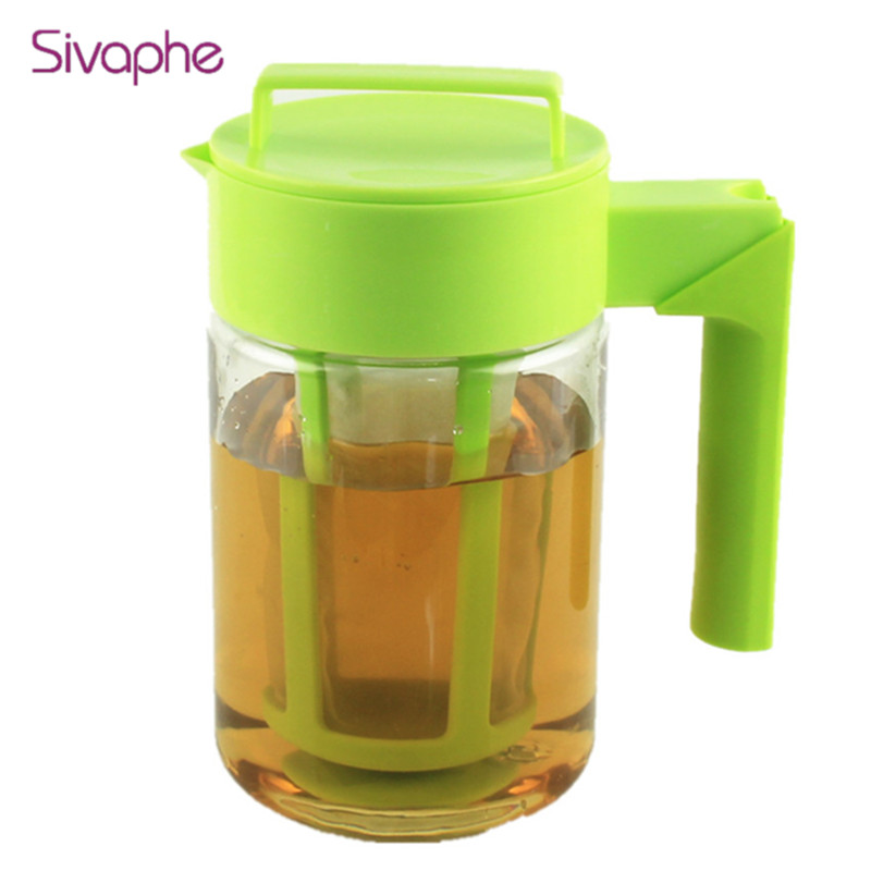 900 ml 1300 ml Cold Coffee Brewer Iced Black Pot Cold Brew Coffee Maker Tea Pot With Fruit Infusion Filter WW-FE007