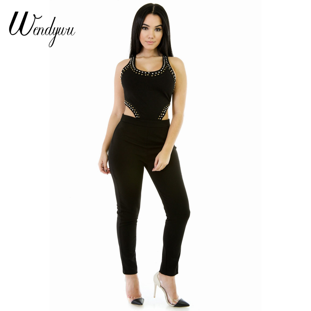 Wendywu Women New Design Sexy Waist Open Sleeveless Solid Black Rivets Bodycon Long Jumpsuits