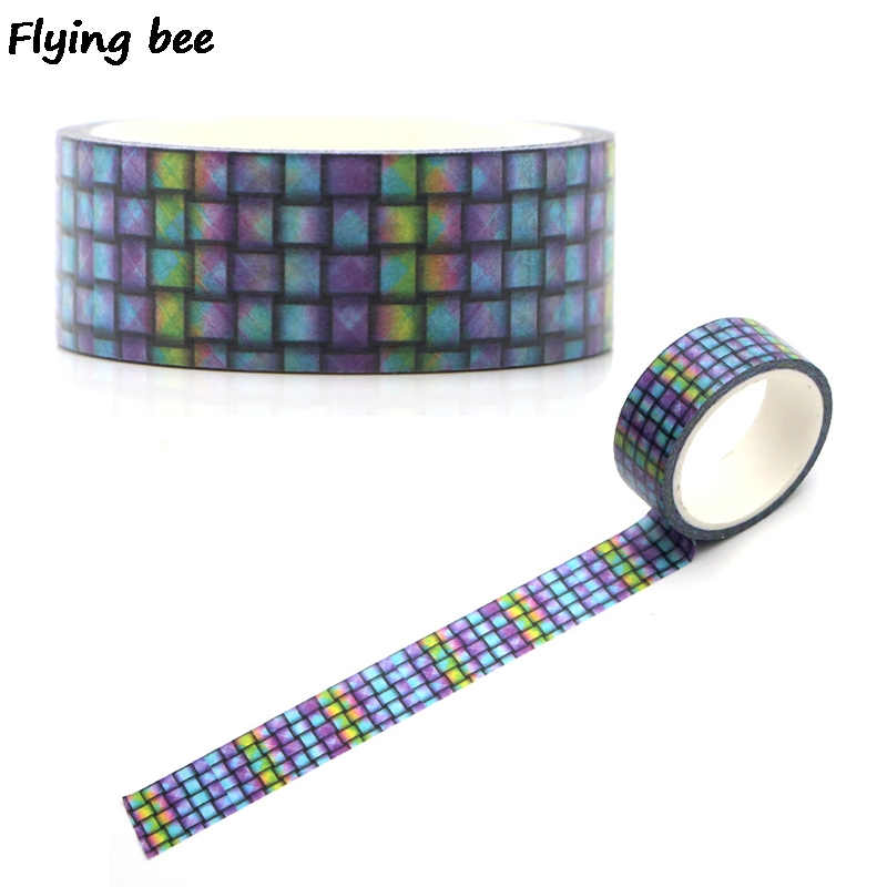 Flyingbee 15mmX5m Paper Washi Tape Purple Grid Cool Adhesive Tape DIY Scrapbooking Sticker Label Masking Tape X0328