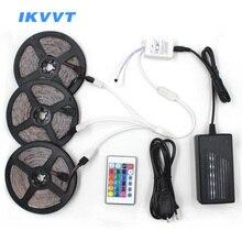 IKVVT RGB LED Strip Led Tape Ribbon SMD 2835 Light Lamp Flexible 24Key IR Remote Controller Power Supply 12V